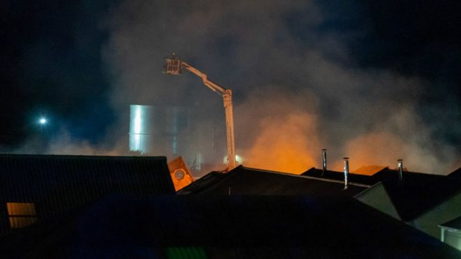Firefighters are tackling a major blaze at a building in Moray.