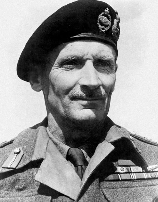 General Montgomery, wearing his iconic Kangol beret