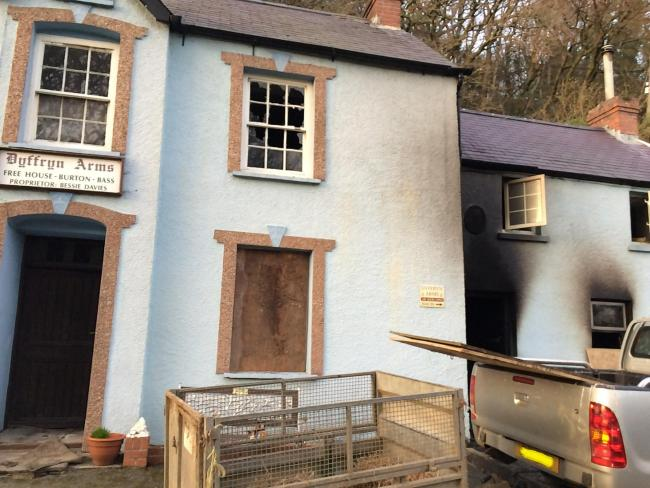 Fire damage at the Dyffryn Arms Public House