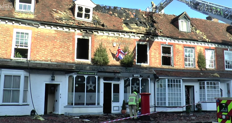 The fire damage to the Grade II listed building is extensive and has affected 4 properties