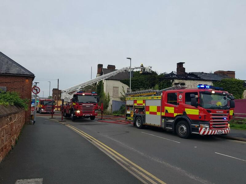 Firefighters at the former Bond Worth carpet factory site. (Photo: HWFRS)