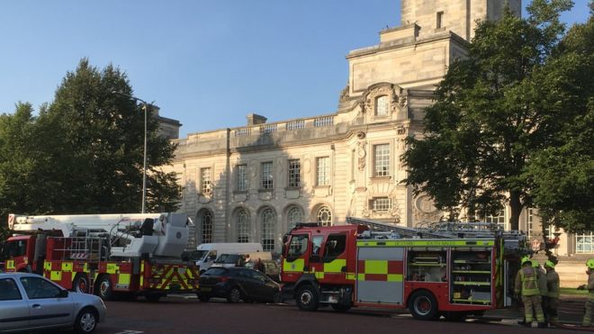 Cardiff City Hall was evacuated after a fire broke out