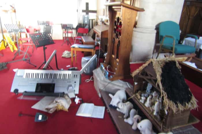 Some of the damage caused at St Leonards-on-Sea Methodist Church.