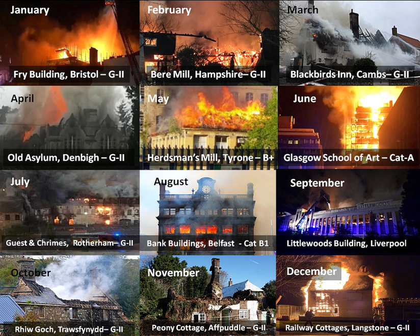 A montage of some of the major fires in historic buildings in 2017