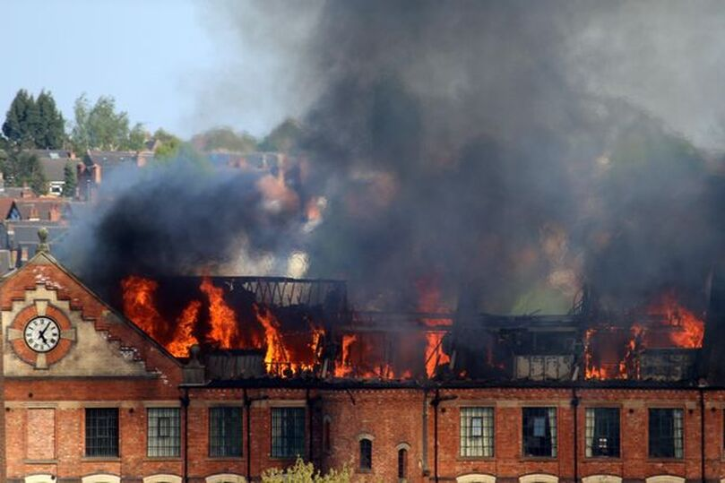 The fire at Springfield Mill in Sandiacre