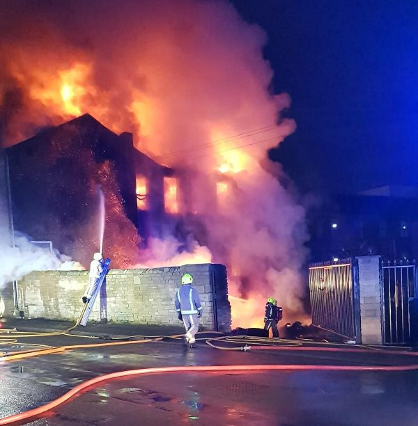 Fire at the former Victorian mill in Rebecca Street Bradford