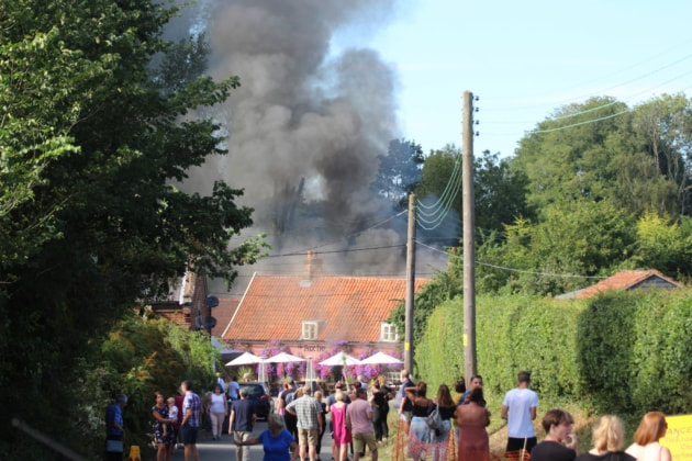 The fire at The Fox Inn at Newbourne