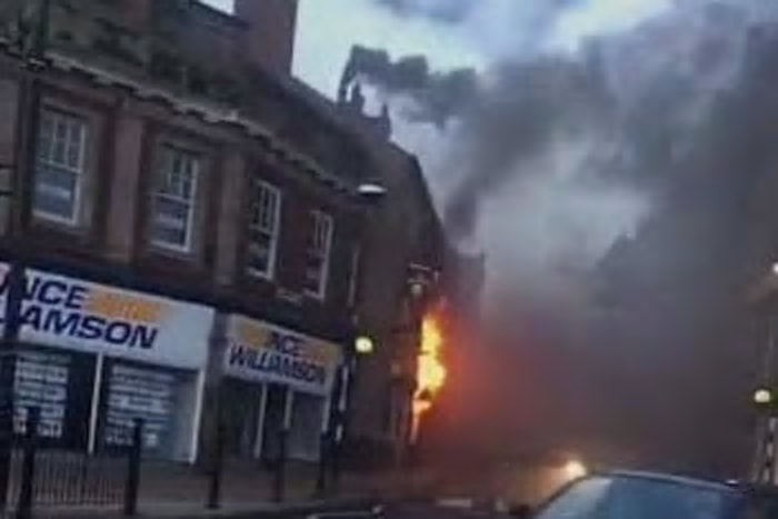 The George pub in Chorley is on fire