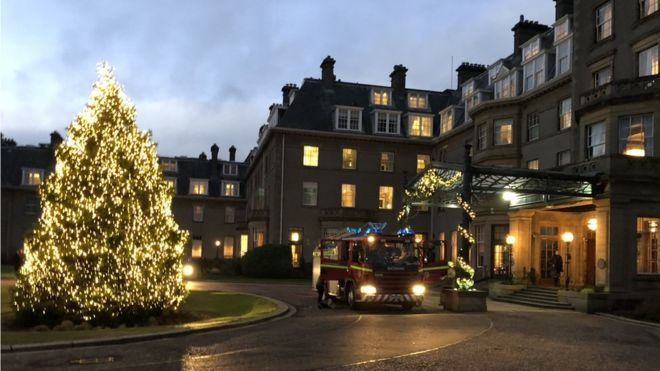Guests were evacuated following a fire on the second floor of the luxury hotel in Auchterarder