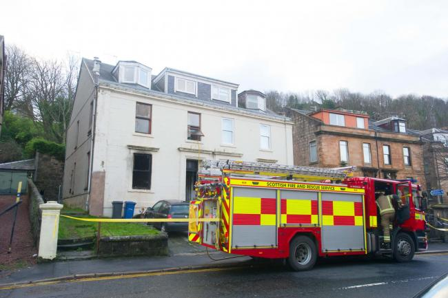 Emergency services at the scene of the fatal fire