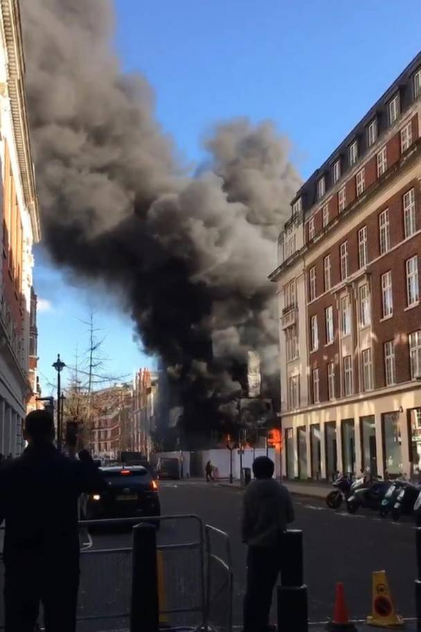 More than 50 firefighters tackle huge fire on Great Portland Street
