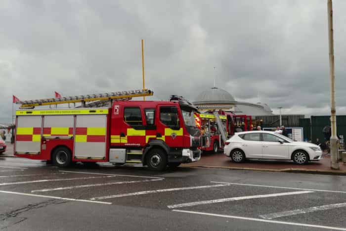 Firefighters at Hastings Pier this morning