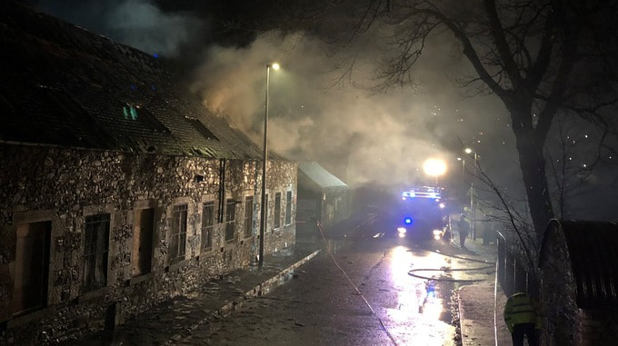 Fire crews tackling the blaze at the former Heather Mills site