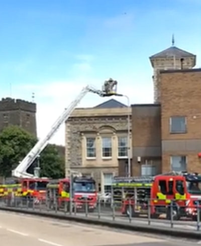 Fire crews deal with blaze at Llanelli Library.
