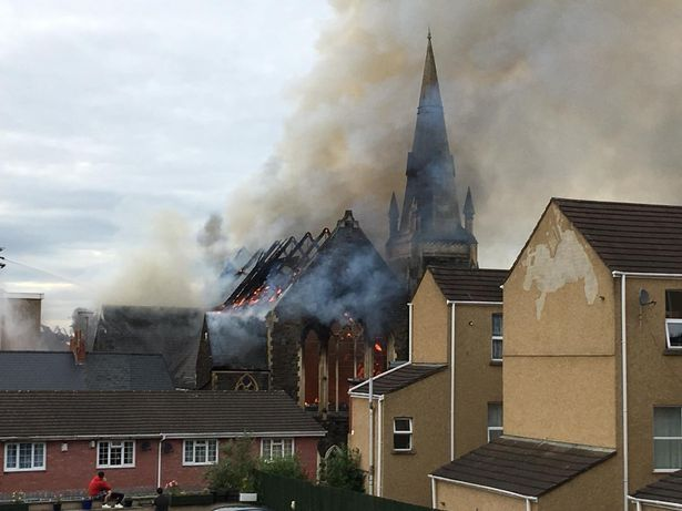 The church appears to have been destroyed in the fire