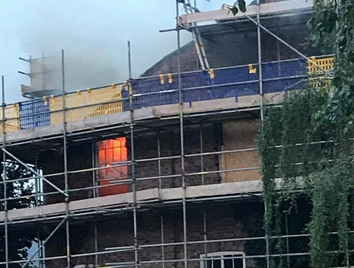 Fire can be clearly seen inside the former Nantwich Methodist Church.