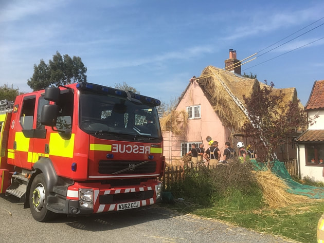Firefighters cordoned Moats Tye after the thatched roof fire.