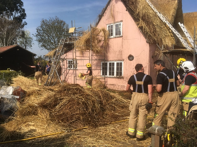 Firefighters had to tear away large parts of the newly installed thatch.