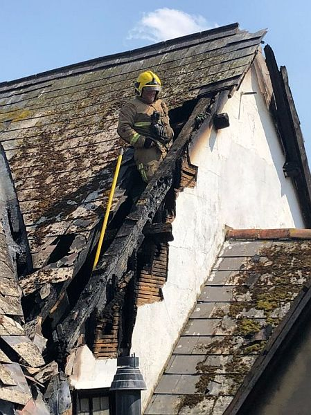 Fire damage to the roof of The New Inn, Gloucester