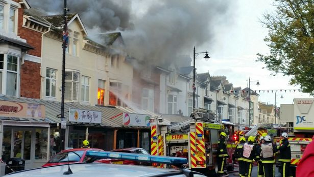 The fire at its height in Torbay Road, Paignton