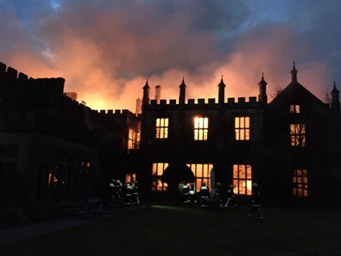 The fire raging at Parnham House (Credit: DWFRS)