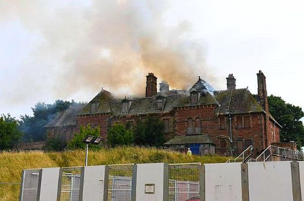 Fire ravaged the derelict listed building in Buccleuch Dock Road