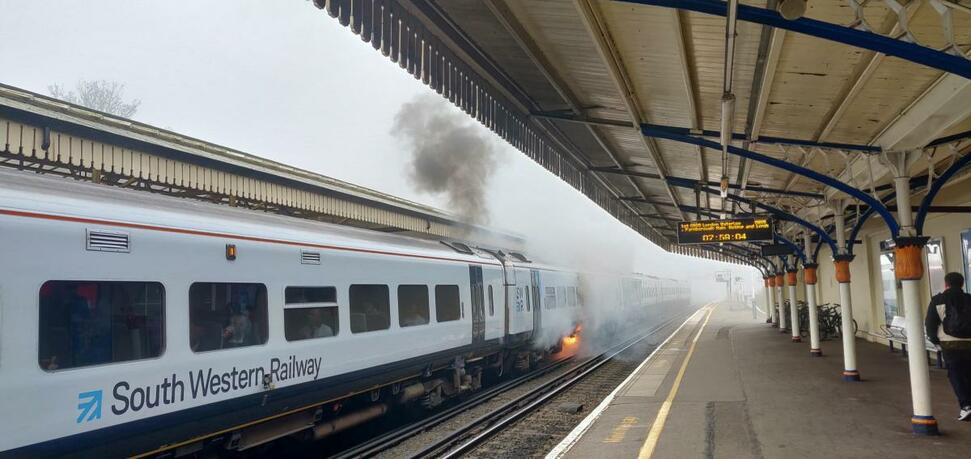 The 07.59 South Western Railway service to London Waterloo caught fire
