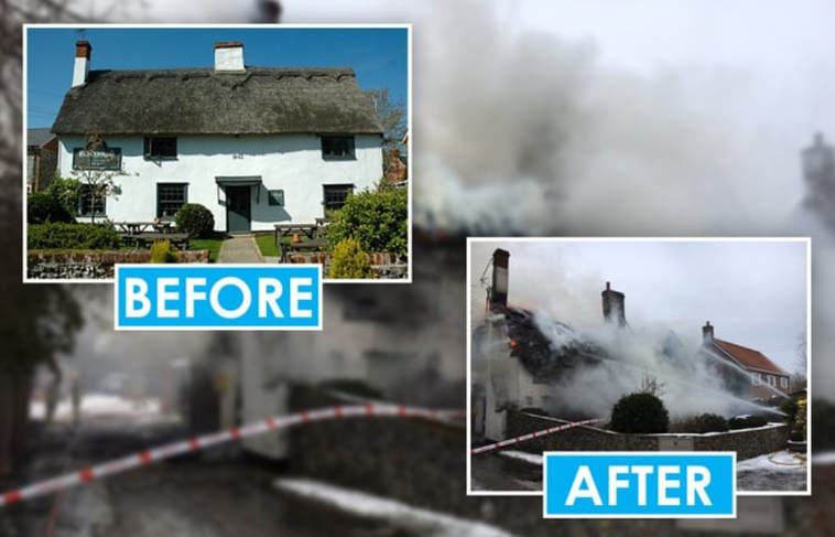 Before and after the major fire at The Blackbirds Inn.