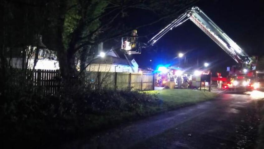 The Bowling Green pub in Preston Road, Charnock Richard, near Chorley, caught fire at 3.40am
