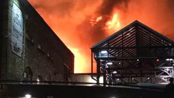 The fire is engulfing buildings at Camden Market. Picture: Twitter