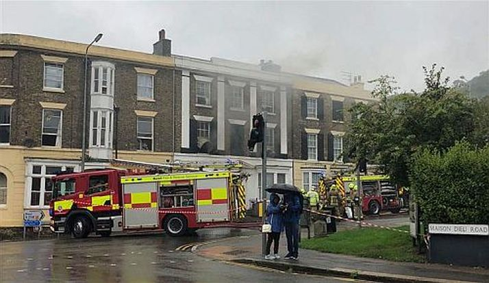 Firefighters were called to the fire at a period property in Dover this morning