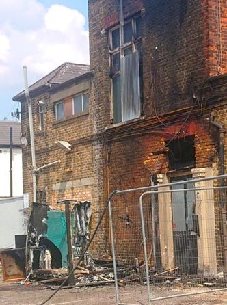 The side of the Ilford pub sustained fire damage