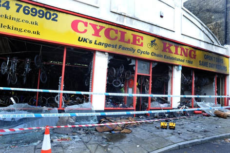 The charred frontage of Cycle King the morning after the fire in Bury St Edmunds.