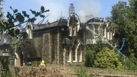 Dolgerddon Hall in Rhayader was visibly damaged in the fire