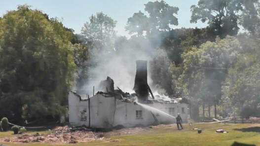 Gills Hole Farmhouse, a 300 year old thatch cottage is destroyed.