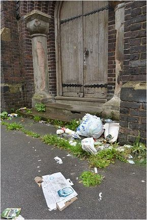 Fly-tipping and antisocial behaviour around the church is causing concern.