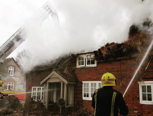 The fire involved a detached thatched cottage in the village of Ham