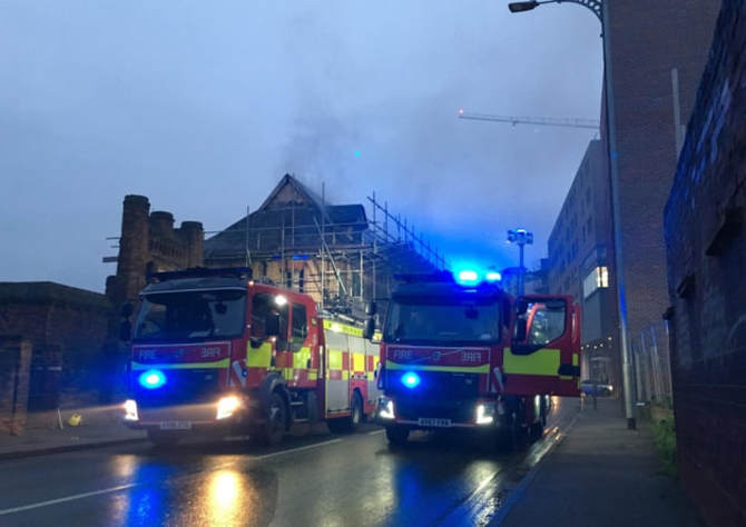 Fire at derelict building on College Street by the Ipswich Waterfront.