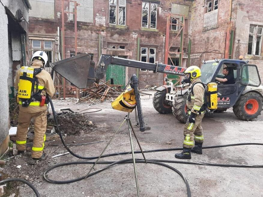 Whitehaven's White Watch fire crew tackle the fire near Cleator