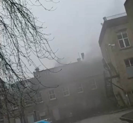 Fire at the old Huddersfield Technical College Building, Portland Street. (Image: Huddersfield Examiner)