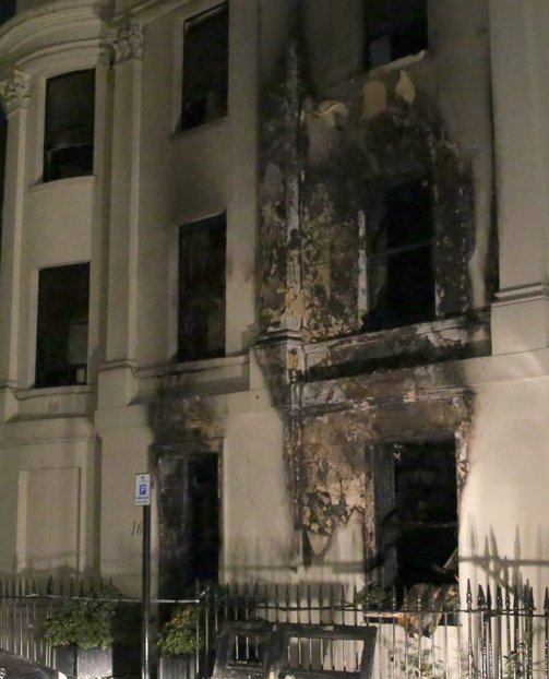 The Grade II listed building is badly damaged in the fire (Picture: UKNIP)