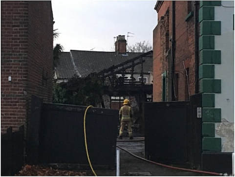 Fire crews were called to a blaze in a stable behind the the former Magpie Pub in Norwich.
