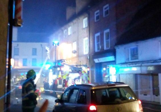 Crews at the scene of the fire in Barnbygate, Newark.