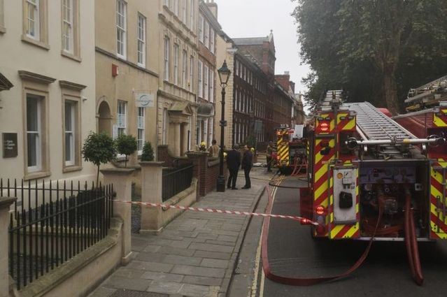 Firefighters tackle a blaze in Queen Charlotte Street, near Queen Square