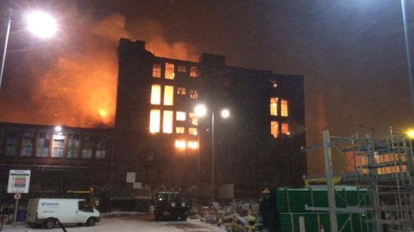 Fire Engulfs Ray Mill in Stalybridge. (Picture: GMFRS)