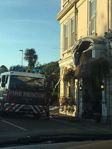 Firefighters at the Royal Hotel in Bideford