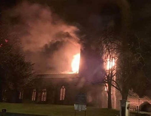 A fire has broken out at the St John the Baptist Church in Royston.