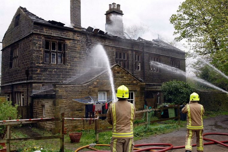 Fire at New House Hall, Sheepridge, fire crews takle the blaze at the historic hall.