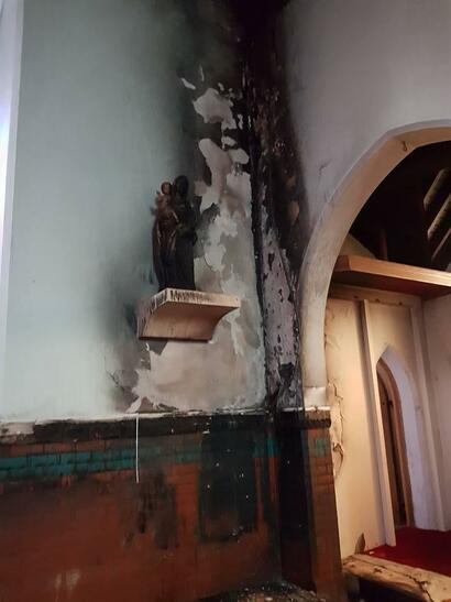 The fire broke out near the altar and involved the main hall and the roof of the church.