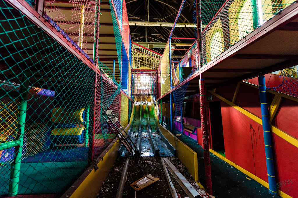 The interior of the church after the Rainbow Fun House closed